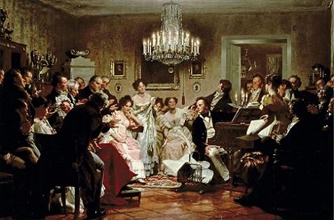 「ウィーンの邸宅で開かれたシューベルトの夜会」ユーリウス・シュミット
