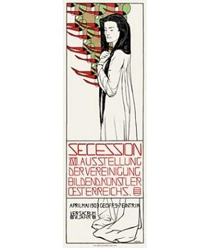 """""""第17回ウィーン分離派ポスター""""(1903年)マクシミリアン・クルツヴァイル"""
