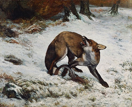 「罠にかかった狐」(1860年)ギュスターヴ・クールベ