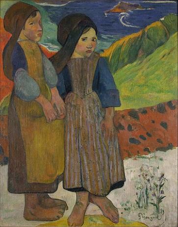 「海辺に立つブルターニュの少女たち」(1889年)ポール・ゴーギャン