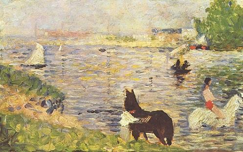 「水に入る馬」(1883年)ジョルジュ・スーラ
