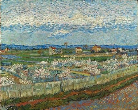 「花咲く桃の木々」(1889年)フィンセント・ファン・ゴッホ