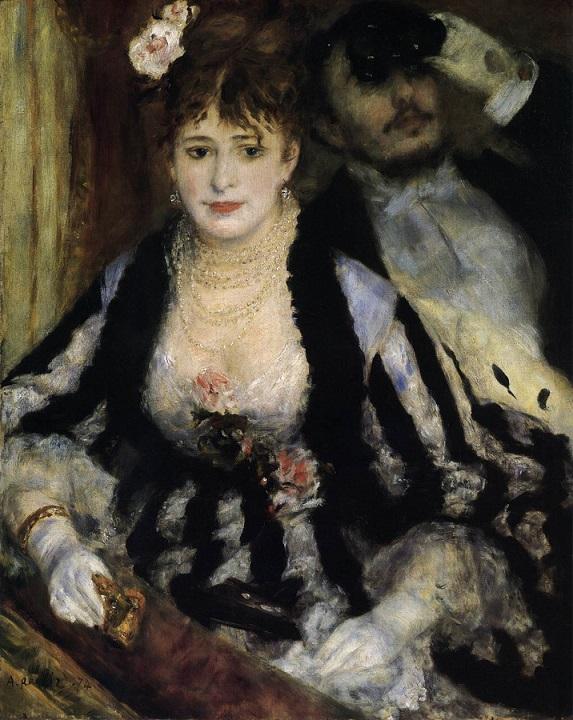 「桟敷席」(1874年)ピエール=オーギュスト・ルノワール