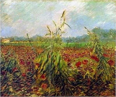 「麦畑とポピー」(1888年)フィンセント・ファン・ゴッホ