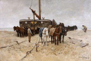 「海辺の漁船」(1882年)アントン・マウフェ