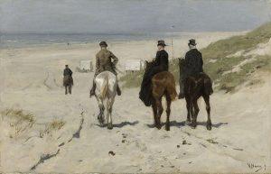 「浜辺の朝の乗馬」(1876年)アントン・マウフェ