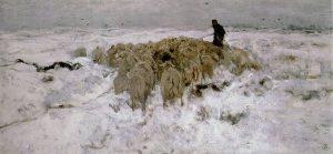 「雪の中の羊飼いと羊の群れ」(1887-88年)アントン・マウフェ