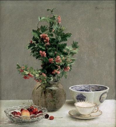 「静物(日本の鉢、さくらんぼ、ティーカップ」(1872年)アンリ・ファンタン=ラトゥール