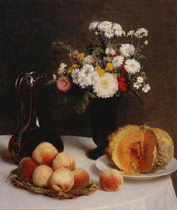「静物(水差し、花、果物)」(1865年)アンリ・ファンタン=ラトゥール