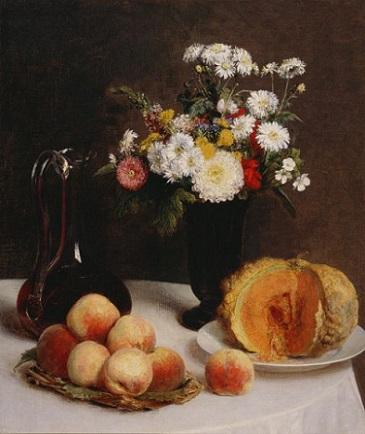 「花と果物、ワイン容れのある静物」(1865年)アンリ・ファンタン=ラトゥール