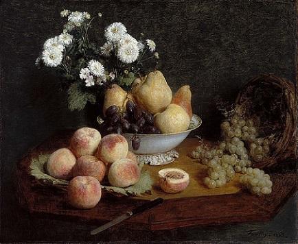 「テーブルの上の花と果物」(1865年)アンリ・ファンタン=ラトゥール
