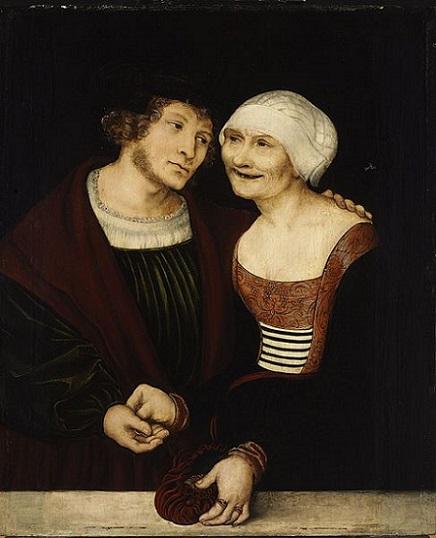「老女と若い男」(1520‐22年)ルカス・クラーナハ