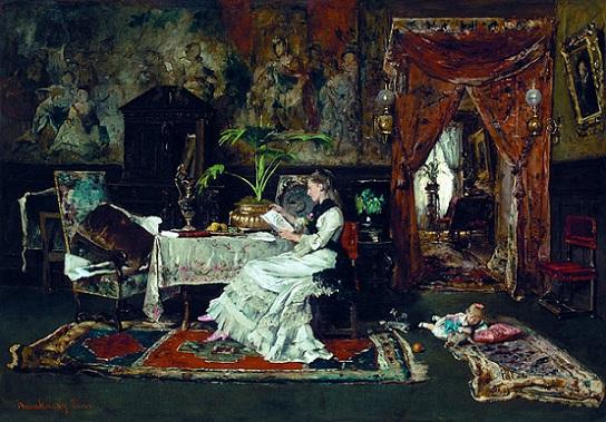 「パリの寝室(本を読む女性)」(1877年)ムンカーチ・ミハーイ