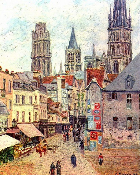 「ルーアンのエピスリー通り、朝、雨模様」(1898年)カミーユ・ピサロ