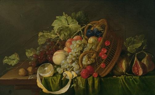 「果物籠のある静物」(1654年)コルネリス・デ・ヘーム