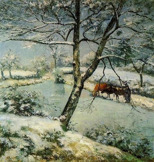 「モンフーコーの冬の池、雪の効果」(1875年)カミーユ・ピサロ
