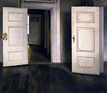 「室内-開いた扉」(1905年)ヴィルヘルム・ハマスホイ