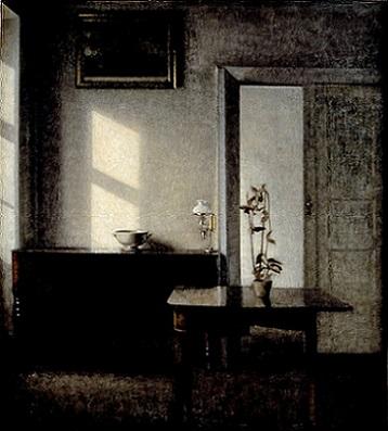 「カード・テーブルと鉢植えのある室内」(1910-11年)ヴィルヘルム・ハマスホイ