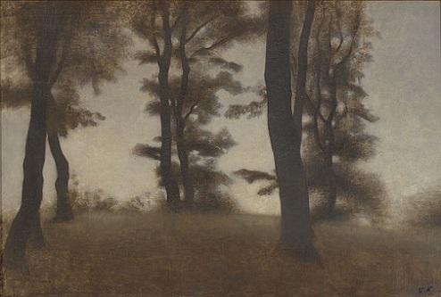 「Tree Trunks, Arresødal near Frederiksværk」(1904年)Vilhelm Hammershøi