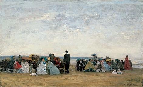 「トルーヴィル近郊の浜」(1865年頃)ウジェーヌ・ブーダン