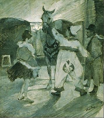 「サーカスの舞台裏」(1887年頃)アンリ・ド・トゥールーズ・=ロートレック