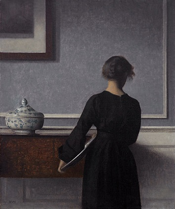 「背を向けた若い女性のいる室内」(1903-04年)ヴィルヘルム・ハマスホイ
