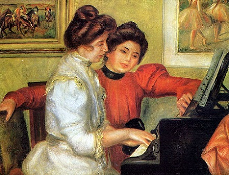 「ピアノを弾くイヴォンヌとクリスティーヌ・ルロル」(1897_1898年頃)オーギュスト・ルノワール