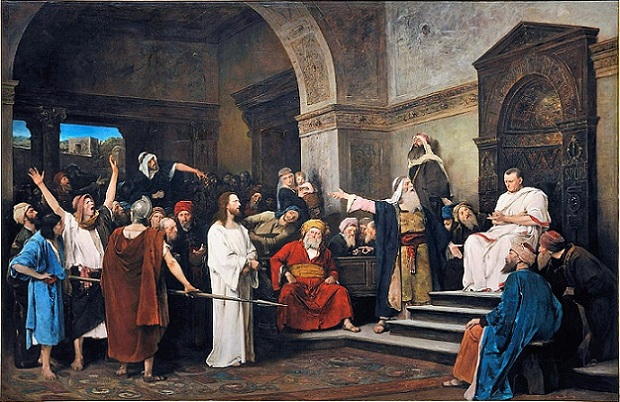 「ピラトの前のキリスト」(1881年)ムンカーチ・ミハーイ