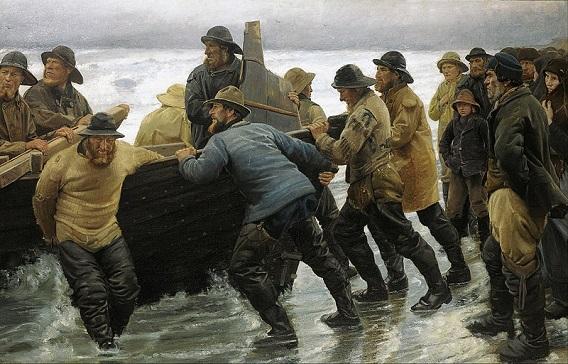 「ボートを漕ぎ出す漁師たち」(1881年)ミケール・アンガ