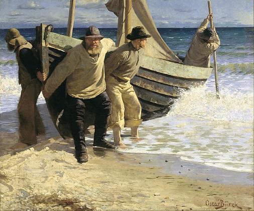 「スケーインの海に漕ぎ出すボート」(1884年)オスカル・ビュルク