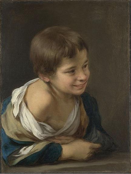 「窓枠に身を乗り出した農民の少年」(1675-80年頃)バルトロメ・エステバン・ムリーリョ