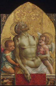 「キリストの体を支える2人の天使」(1472年頃)カルロ・クリヴェッリ