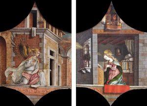 「受胎告知」(1482年)カルロ・クリヴェッリ