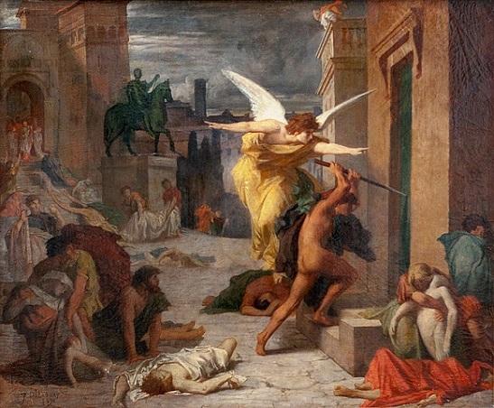 「ローマ市内のペスト」(1859年)ジュール=エリー・ドローネー