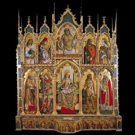 「モンテ・サン・マルティーノの多翼祭壇画」(1477‐80年頃)カルロ・クリヴェッリ