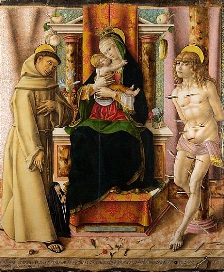 「聖母子と聖フランチェスコ、聖セバスティアヌス」(1491年)カルロ・クリヴェッリ
