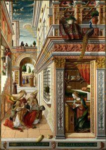「聖エミディウスを伴う受胎告知」(1486年)カルロ・クリヴェッリ
