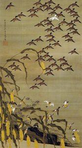 「秋塘群雀図(動植綵絵)」(1759年)伊藤若冲