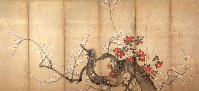 「梅椿図屏風」(1850年頃)鈴木其一