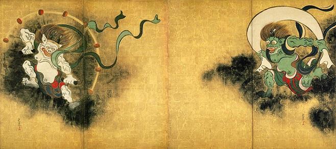 「風神雷神図屏風」(17世紀)尾形光琳