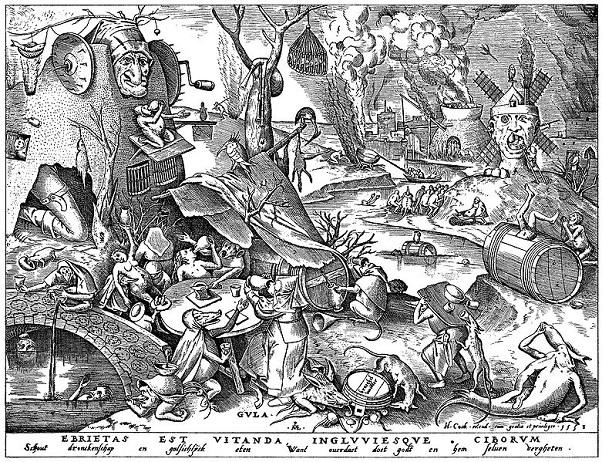 「大食(連作「七つの大罪」より)」(1558年)ピーテル・ブリューゲル1世