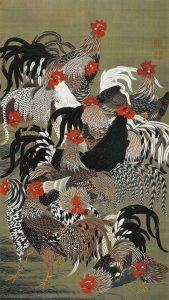 「群鶏図(動植綵絵)」(18世紀頃)伊藤若冲