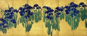 「燕子花図屏風(右隻)」(江戸時代、18世紀)尾形光琳筆