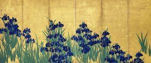 「燕子花図屏風(左隻)」(江戸時代、18世紀)尾形光琳筆