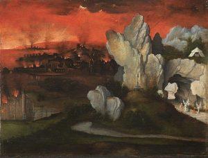 「ソドムとゴモラの滅亡がある風景」(1520年頃)ヨアヒム・パティニール