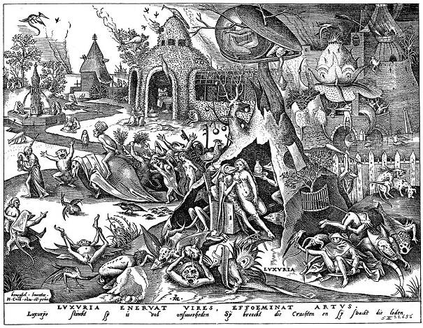 「邪淫(連作「七つの大罪」より)」(1558年)ピーテル・ブリューゲル1世