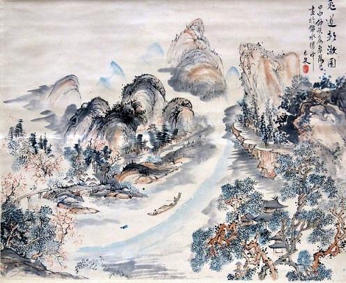 「兎道朝暾図」(江戸時代)青木木米