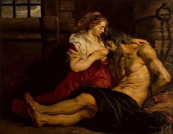 「ローマの慈悲(キモンとペロ)」(1610-12年)ピーテル・パウル・ルーベンス