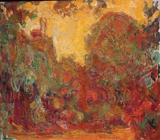 「バラの庭から見た家」(1922‐1924年)クロード・モネ