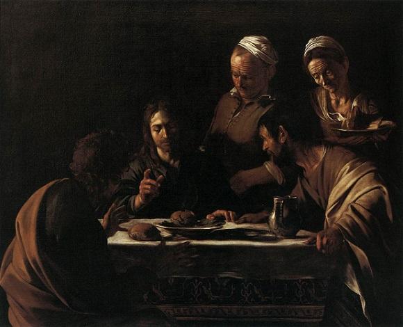 「エマオの晩餐」(1606年)ミケランジェロ・メリージ・ダ・カラヴァッジョ